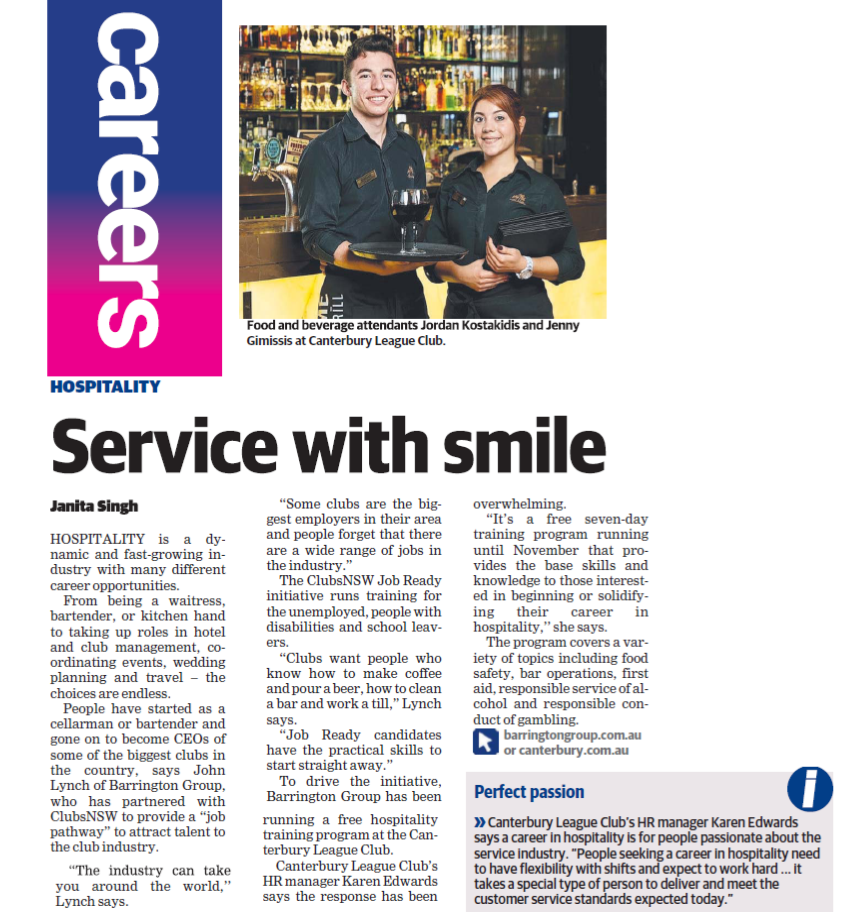 Canterbury Leagues Club Careers in Hospitality